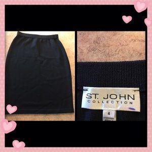St. John collection black knit pencil skirt